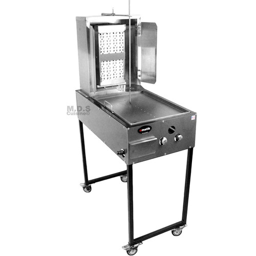 Trompo para Tacos Al Pastor Stainless Steel Cart with Traditional 8 Ceramic Bricks and Heated Steel Griddle Heavy Duty Propane Gas Burner
