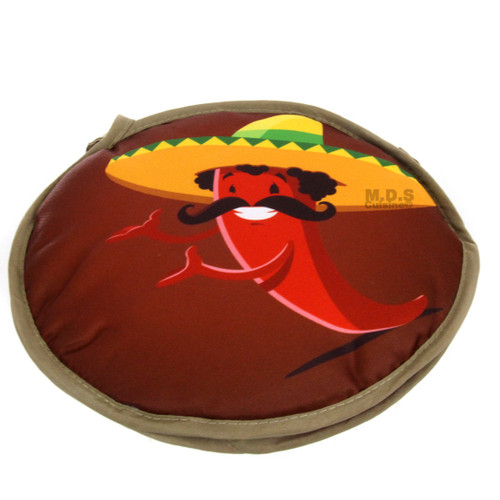 """Tortilla Warmer 10"""" Microwavable Fabric 2 Sided Mexican Red Peppers and Cactus I"""