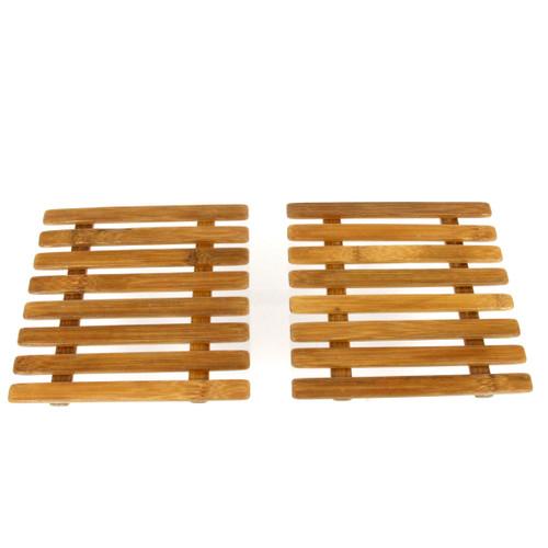 "Mat Dish Rack 7"" Wooden Bamboo Pot Pan Countertop Protective Holder Two 7"" Pc Se"