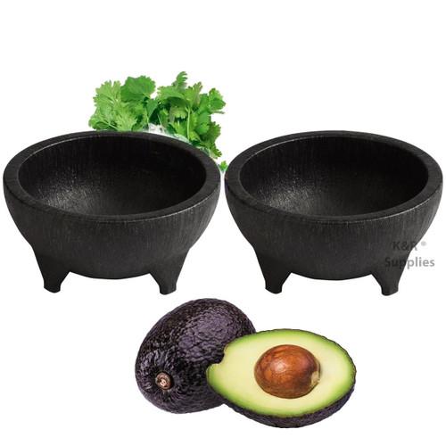 Molcajete 32 Oz Black Plastic Durable Traditional Mexican Serving Bowl Guacamole