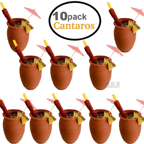 Cantarito De Barro 12 Oz Jarrito Loco Traditional Authentic Margarita Michelada Mexican Lead Free Red Clay (10) Cantaritos)