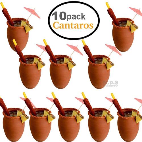 Cantarito De Barro 12 Oz Jarrito Loco Traditional Authentic Margarita Michelada Mexican Lead Free Red Clay (10) Cantaritos)