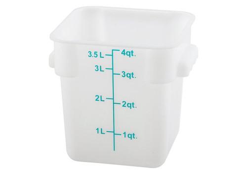 Storage Container 4 Qt. Durable Translucent Polypropylene Square Measuring Food Storage