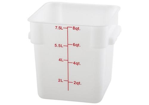 Storage Container 8 Qt. Durable Translucent Polypropylene Square Measuring Food Storage