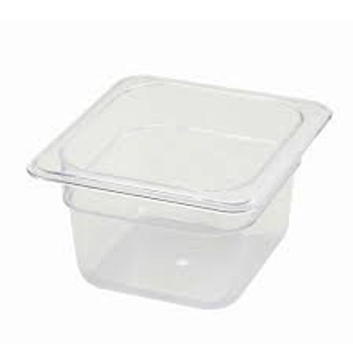 "Tray 1/6 Food Pan 4"" Deep Poly-Ware Clear"