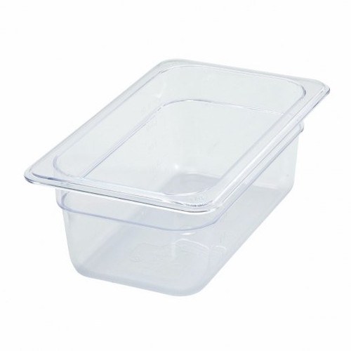 "Tray 1/4 Food Pan 4"" Deep Poly-Ware Clear"