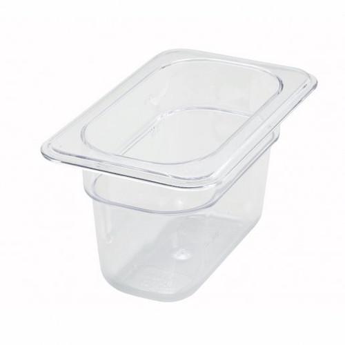 "Tray 1/9 Food Pan 4"" Deep Poly-Ware Clear"