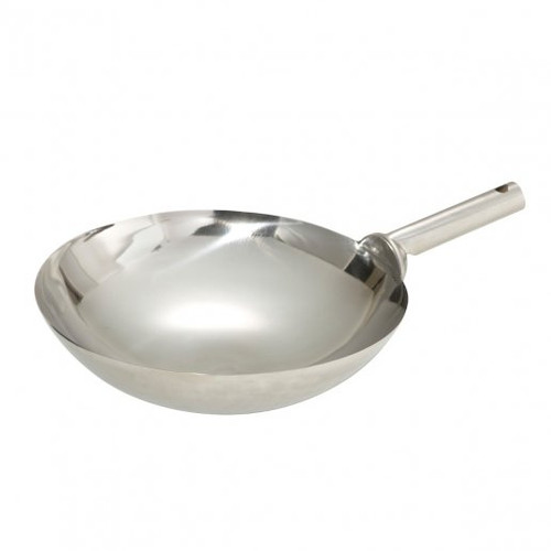 """Wok 14"""" Stainless Steel Chinese Style with Welded Handle"""