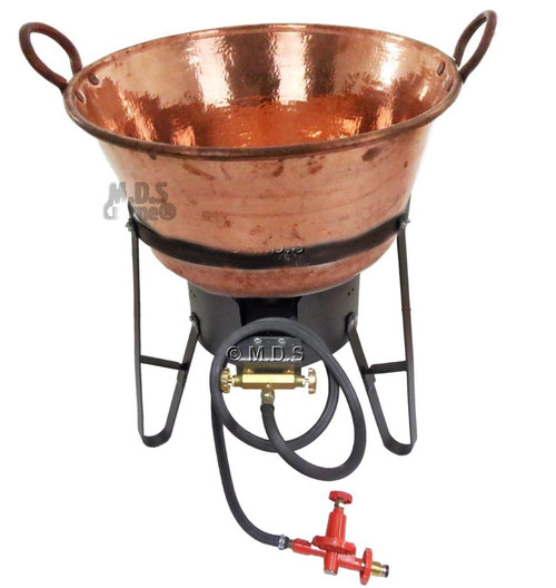 "Cazo Copper 24"" Para Carnitas Cobre 100% Hand Hammered SET with High Pressure Burner & Stand"