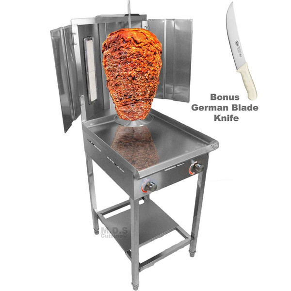 """Trompo Para Tacos Al Pastor Dual Infrared Propane Gas Burner with Stainless Steel Comal Griddle 9.5"""" Pastor Knife and Stand"""
