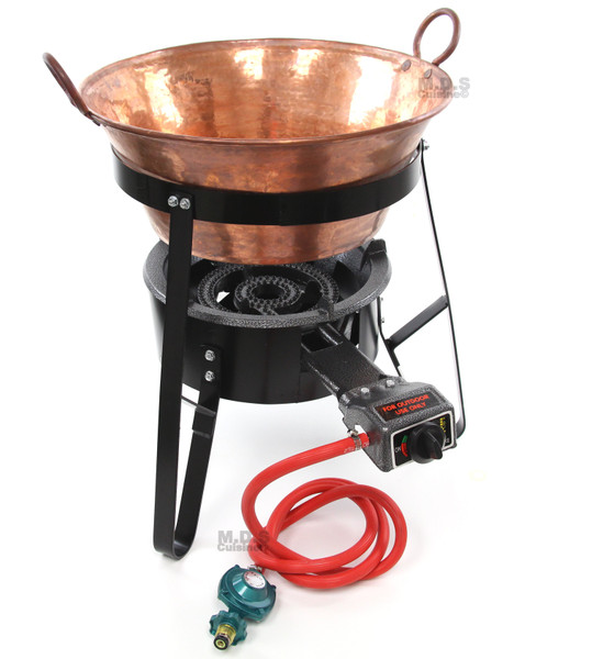 "Ematik Cazo Copper 18"" Set Carnitas Kit with Burner & Stand Cazo de Cobre Fryer"
