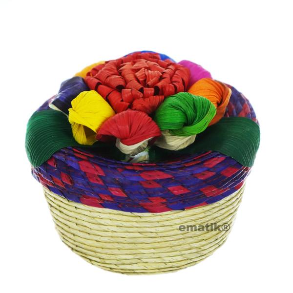 "Tortilla Holder Palm Husk 4.5"" Mini Traditional Authentic Handmade Mexican Artisan Colorful Floral Artisan Wickerwork Tortilla Warmer …"