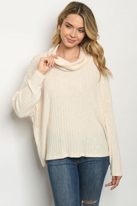 Circle Back Ribbed Cream Top