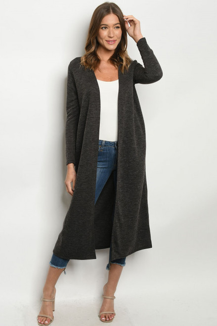 Kind Regards Long Line Cardigan in Grey