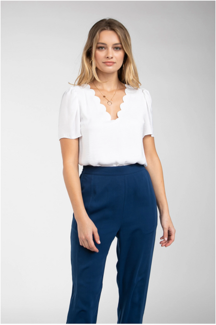 White Scallop Neck Top