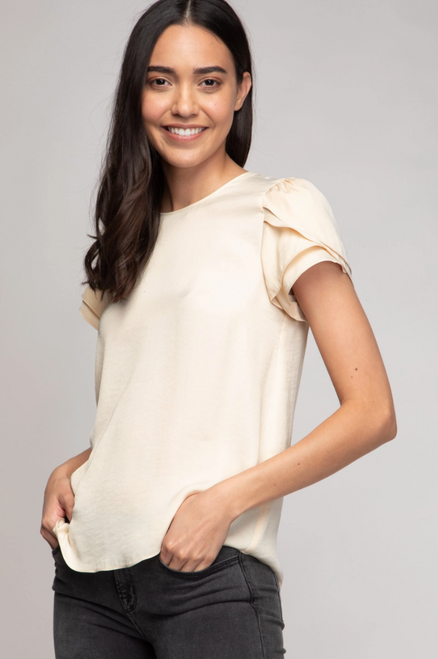 Motivated Short Sleeve Top in Cream