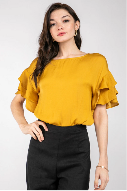 Opportunity Frill Sleeve Top in Gold