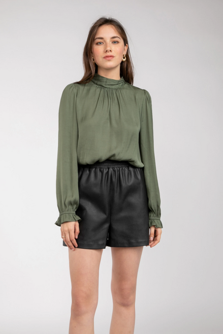 Initiative Dusty Olive Mock Neck Top