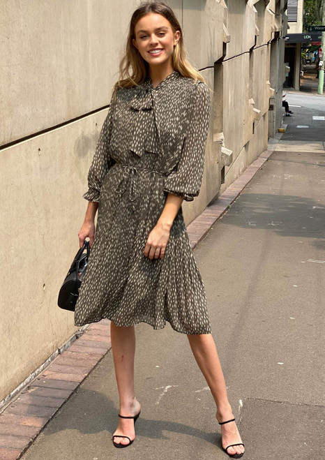 Head Office Pleated Tie Up Neck Dress