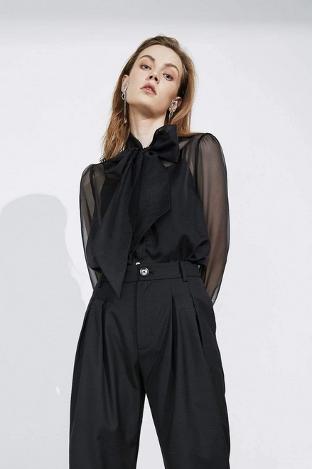 Counteroffer Black Sheer Blouse