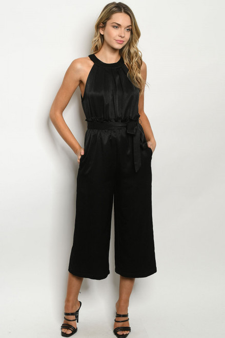 Thought Leader Halter Neck Jumpsuit in Black