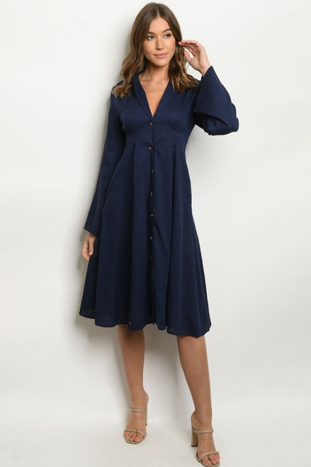 Merger Button Down Dress in Navy