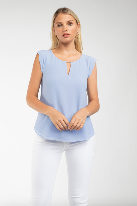 Overview Short Sleeve Top in Light Blue