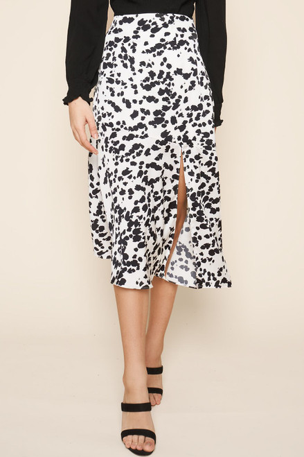 Prime Time Splatter Print Midi Skirt