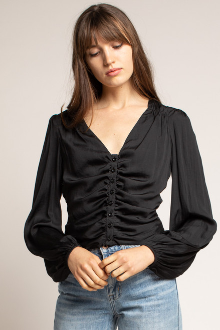 Culture Fit Satin Ruched Front Blouse