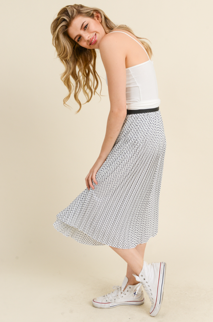 Pitch Meeting Pleated Polka Dot Midi Skirt