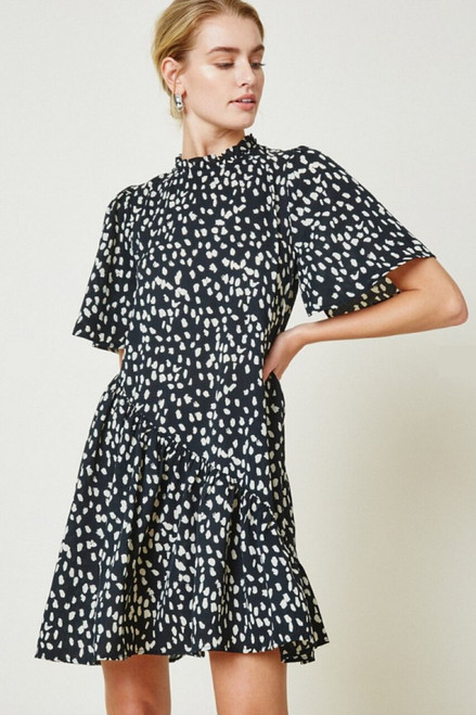 Insights Dotted Asymmetrical Ruffle Dress