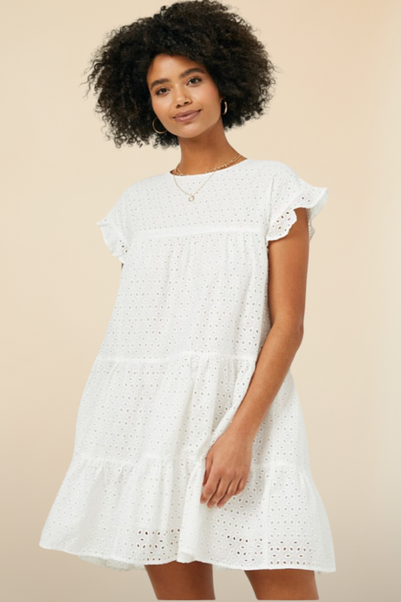 Close of Play White Tiered Eyelet Dress