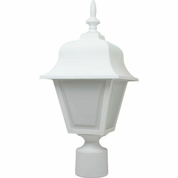 White Plastic Coach Lantern Pole Light