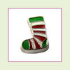 Christmas Stocking Green/Red Stripe (Silver Base) Floating Charm
