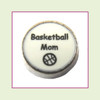 Basketball Mom on White Round (Silver Base) Floating Charm
