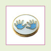 Baby Hands Blue (Gold Base) Floating Charm