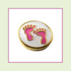 Baby Feet Pink on White Round (Gold Base) Floating Charm