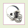 Football Helmet - White with Navy Blue Stripe (Silver Base) Floating Charm