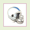 Football Helmet - Light Gray with Sky Blue Stripe (Silver Base) Floating Charm