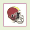 Football Helmet - Dark Red with Yellow Stripe (Silver Base) Floating Charm
