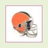 Football Helmet - Orange with Brown Stripe (Silver Base) Floating Charm