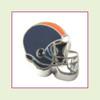 Football Helmet - Navy Blue with Orange Stripe (Silver Base) Floating Charm