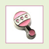 Baby Rattle Pink (Silver Base) Floating Charm
