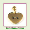 Stainless Steel Clip-On Charm:  Love Heart (Gold) 18x15mm