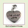 Stainless Steel Clip-On Charm:  Live Laugh Love Heart (Silver) 18x15mm