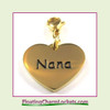 Stainless Steel Clip-On Charm:  Nana Heart (Gold) 18x15mm