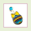 Baby Rattle Yellow and Blue (Silver Base) Floating Charm