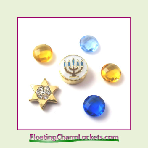 FCL Designs Hanukkah Floating Charm Combination for Lockets