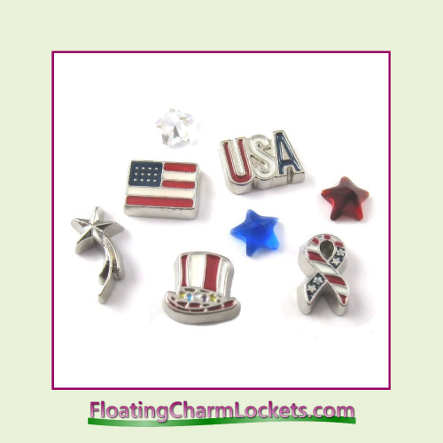 FCL Designs Patriotic Floating Charm Combination for Lockets