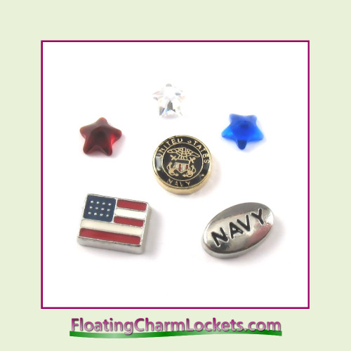 FCL Designs Navy Floating Charm Combination for Lockets